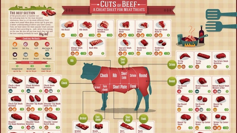 Different cuts of meat on a cow
