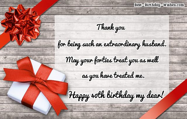 40th birthday message for husband