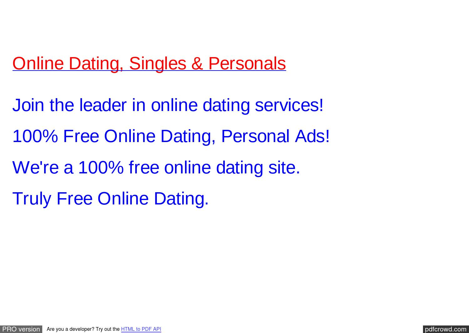 Free online dating services with