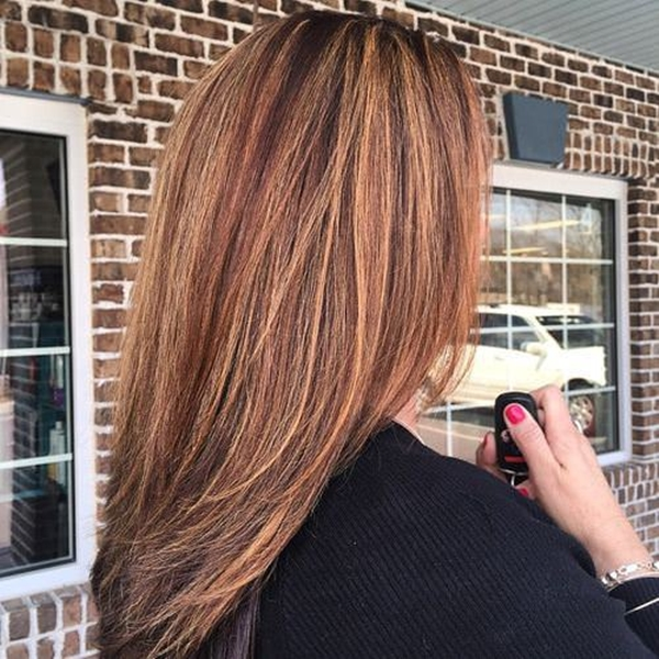 Dark brown with blonde and red highlights