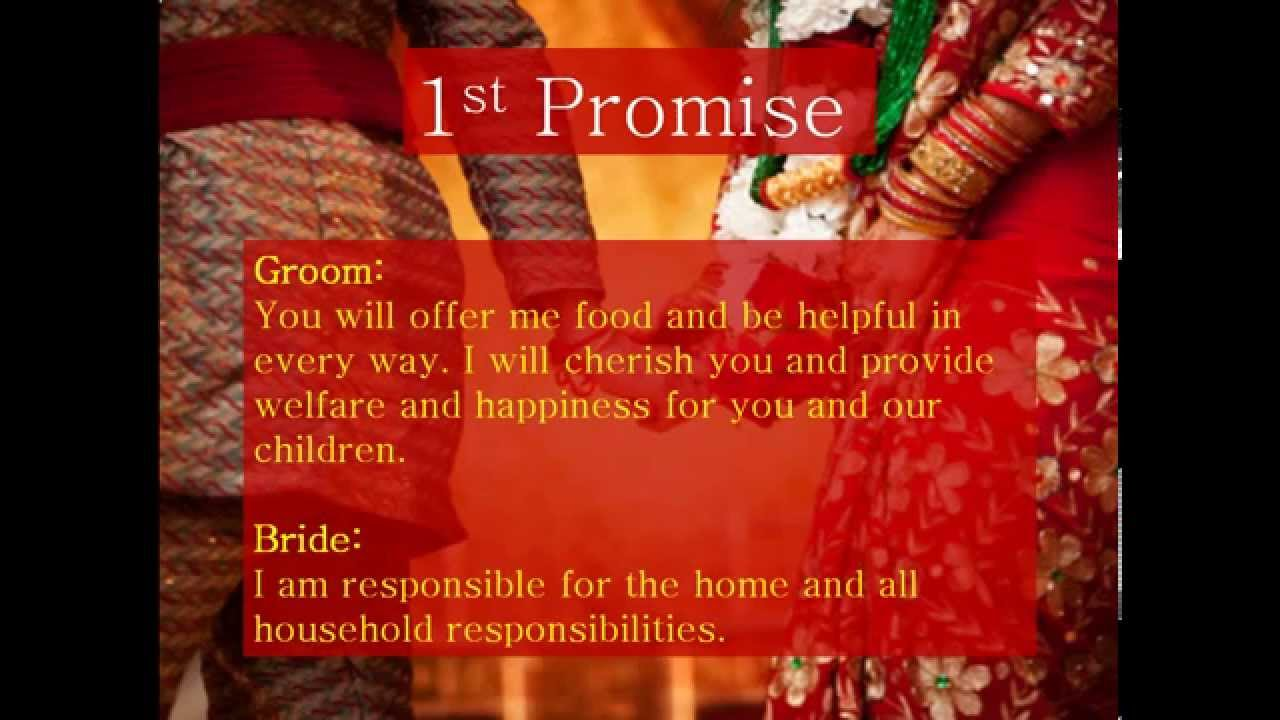 7 vows of hindu marriage in english