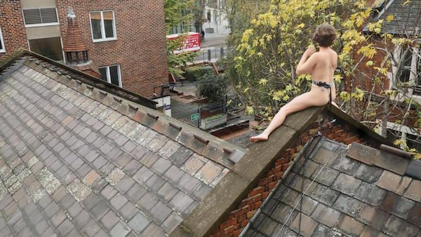 Naked girl on roof