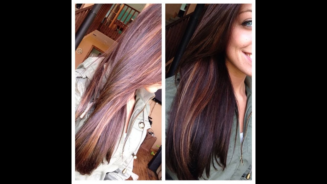 Dark hair with caramel and red highlights