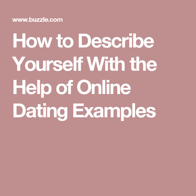Examples about yourself for dating