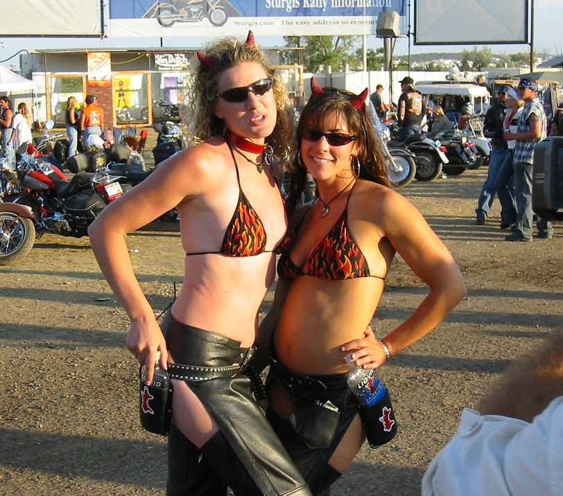 Biker girls flashing