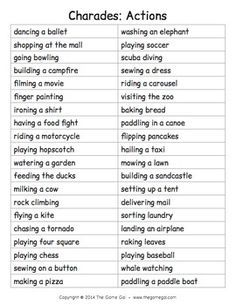 Things for charades