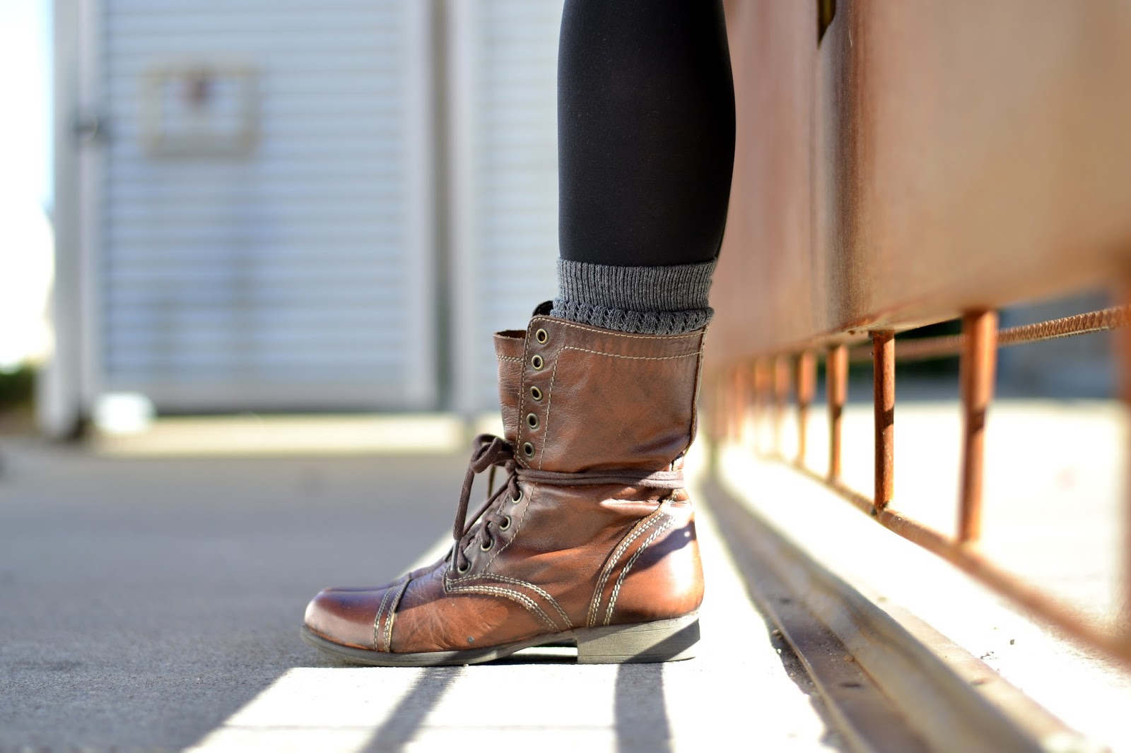 Combat boots with boot socks