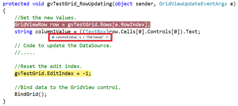 Gridview rowupdating event from code