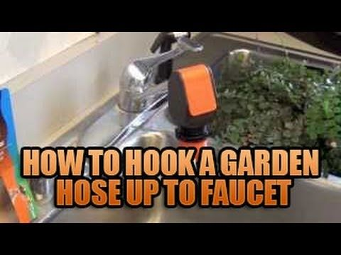 Hook up hose to sink faucet