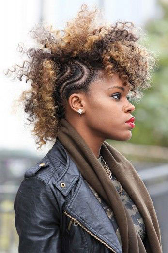 Mohawk with braids and curls