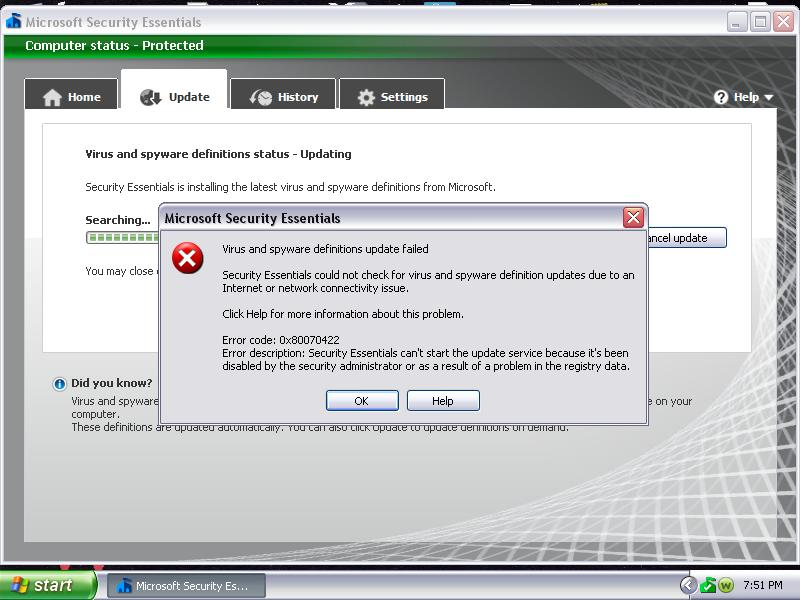 Problems updating microsoft security essentials