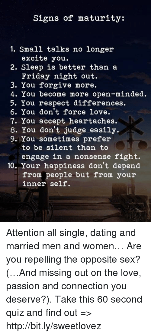 Signs of being in love quiz
