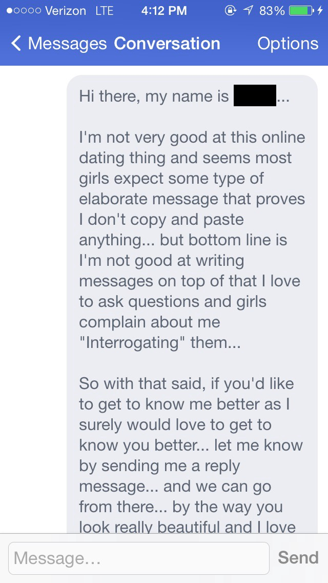 Online dating message openers