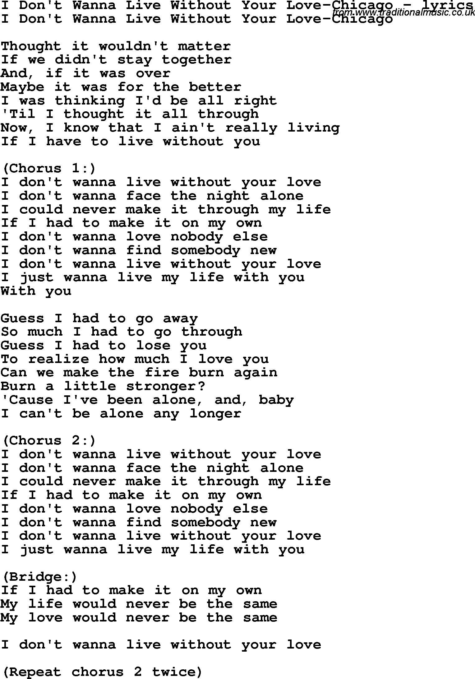 Song how do i live without you lyrics